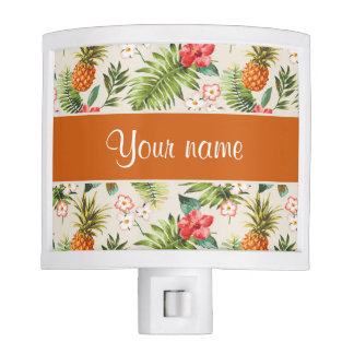Pineapple Hibiscus and Palm Fronds Night Light