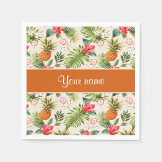 Pineapple Hibiscus and Palm Fronds Paper Napkin