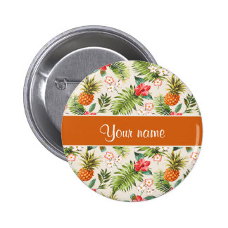 Pineapple Hibiscus and Palm Fronds Pinback Button