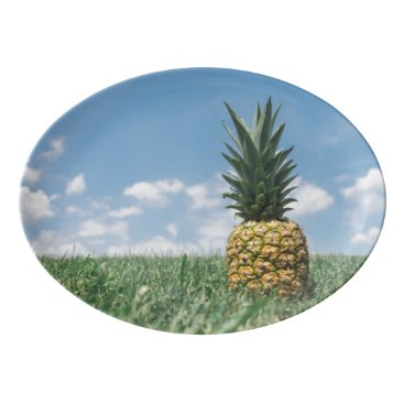 Beach Themed Pineapple in a Field Porcelain Serving Platter