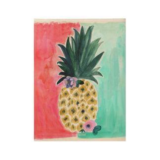 Pineapple Leia Tropical Wood Poster