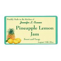 Pineapple Lemon Jam Preserves Canning Jar Label