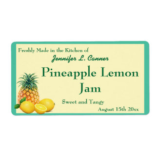 Pineapple Lemon Jam Preserves Canning Jar Label