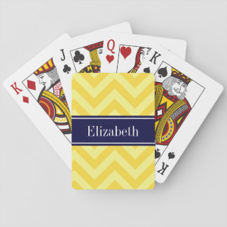 Pineapple Lt Yellow LG Chevron Navy Name Monogram Playing Cards