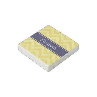 Pineapple Lt Yellow LG Chevron Navy Name Monogram Stone Magnet