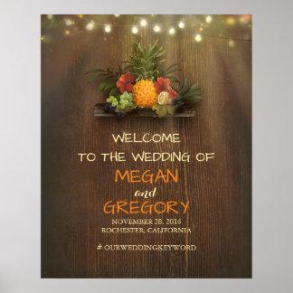 Pineapple Luau Beach Lights Wedding Welcome Sign