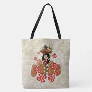 Pineapple Luau Hawaiian Hula Girl Floral Beach Bag Tote Bag