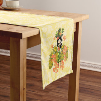 Pineapple Luau Hawaiian Hula Girl Short Table Runner