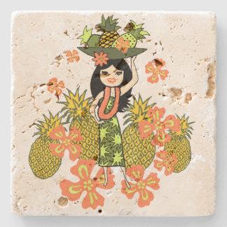 Pineapple Luau Hawaiian Hula Girl Tiki Bar Coaster