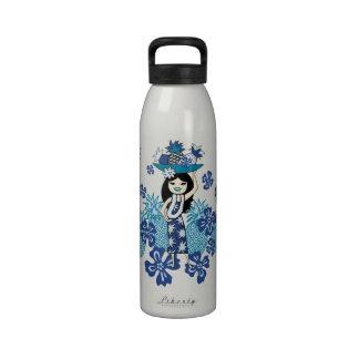 Pineapple Luau Hawaiian Hula Girl Water Bottles