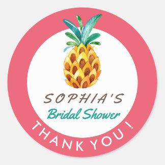 Pineapple Luau Tropical Shower Thank You Sticker