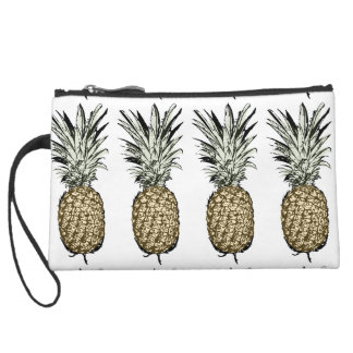 Pineapple luck ink/paint suede wristlet