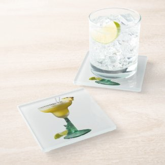 Pineapple Margarita on Glass Coaster