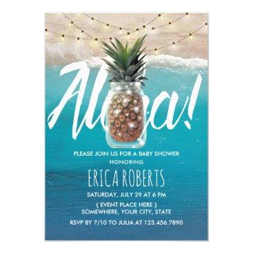 Beach Themed Pineapple Mason Jar Aloha Beach Baby Shower Card
