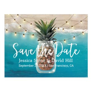 Pineapple Mason Jar Beach Wedding Save the Date Postcard