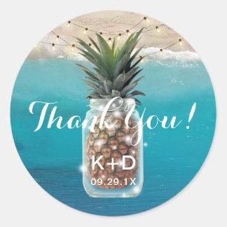 Pineapple Mason Jar Beach Wedding Thank You Classic Round Sticker