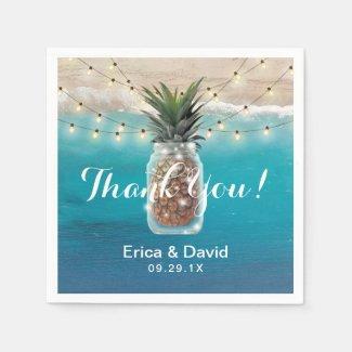 Pineapple Mason Jar Tropical Beach Wedding Paper Napkin