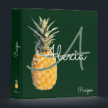 """pineapple &amp; monogram recipes binder<br><div class=""""desc"""">Green background with the illustration of a yellow pineapple and your own name in a script font-style with custom subject &#39;Recipes&#39;</div>"""