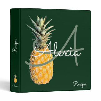 pineapple & monogram recipes binder