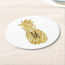 pineapple monogram round paper coaster
