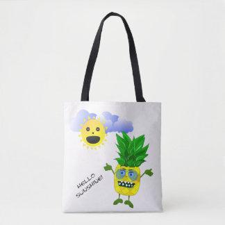 Pineapple monster fruit illustration tote bag