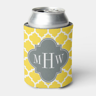 Pineapple Moroccan #5 Charcoal 3 Initial Monogram Can Cooler