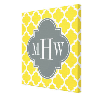 Pineapple Moroccan #5 Charcoal 3 Initial Monogram Canvas Print