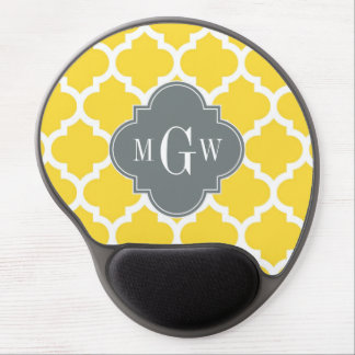 Pineapple Moroccan #5 Charcoal 3 Initial Monogram Gel Mouse Pad