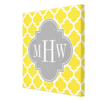 Pineapple Moroccan #5 Dk Gray 3 Initial Monogram Canvas Print