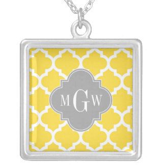 Pineapple Moroccan #5 Dk Gray 3 Initial Monogram Square Pendant Necklace