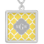 Pineapple Moroccan #5 Dk Gray 3 Initial Monogram Square Pendant Necklace