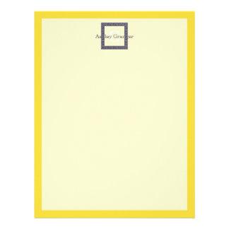 Pineapple, Navy Blue Greek Key #1 Framed Monogram Letterhead