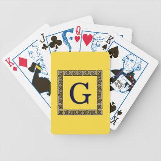 Pineapple, Navy Blue Greek Key #1 Framed Monogram Bicycle Playing Cards