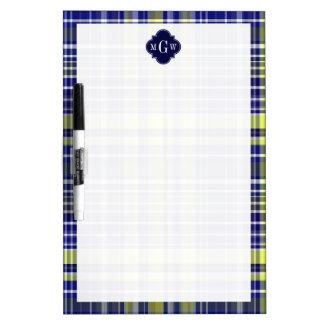 Pineapple Navy Blue White Preppy Madras Monogram Dry-Erase Whiteboards