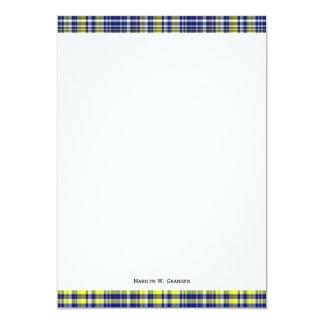 Pineapple Navy Blue White Preppy Madras Plaid Card
