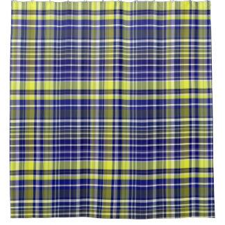 Pineapple Navy Blue White Preppy Madras Plaid Shower Curtain
