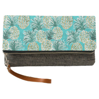 PINEAPPLE O'CLOCK Tropical Whimsical Watercolor Clutch
