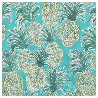 PINEAPPLE O'CLOCK Tropical Whimsical Watercolor Fabric