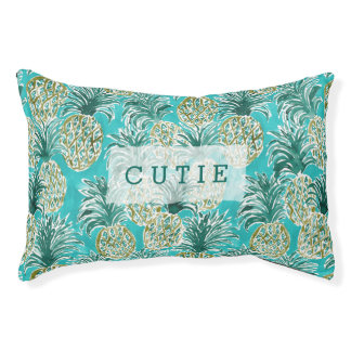 PINEAPPLE O'CLOCK Tropical Whimsical Watercolor Pet Bed