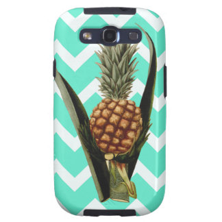 Pineapple On A Mint Green Chevron Pattern Galaxy S3 Covers