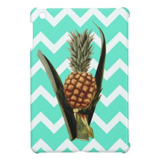 Pineapple On A Mint Green Chevron Pattern iPad Mini Cover