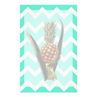 Pineapple On A Mint Green Chevron Pattern Stationery
