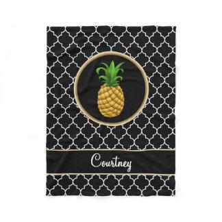 Pineapple on Black White Quatrefoil with Name Fleece Blanket