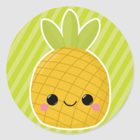 Pineapple on Green Stripes Classic Round Sticker
