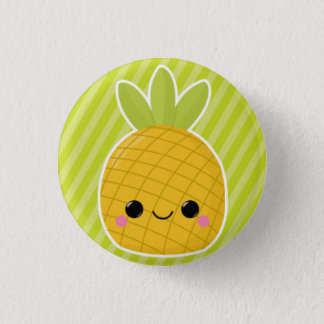 Pineapple on Green Stripes Pinback Button