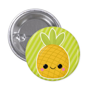 Pineapple on Green Stripes Pinback Button