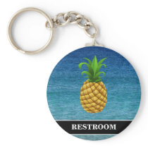 Pineapple on Ocean Background Restroom Keychain