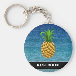 Pineapple on Ocean Background Restroom Keychain