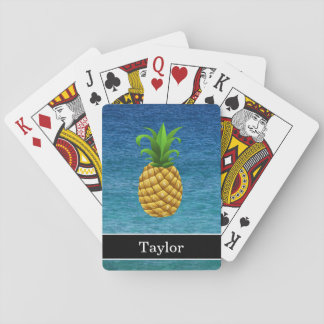 Pineapple on Ocean Background with Name Playing Cards