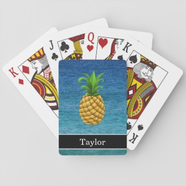 Beach Themed Pineapple on Ocean Background with Name Playing Cards